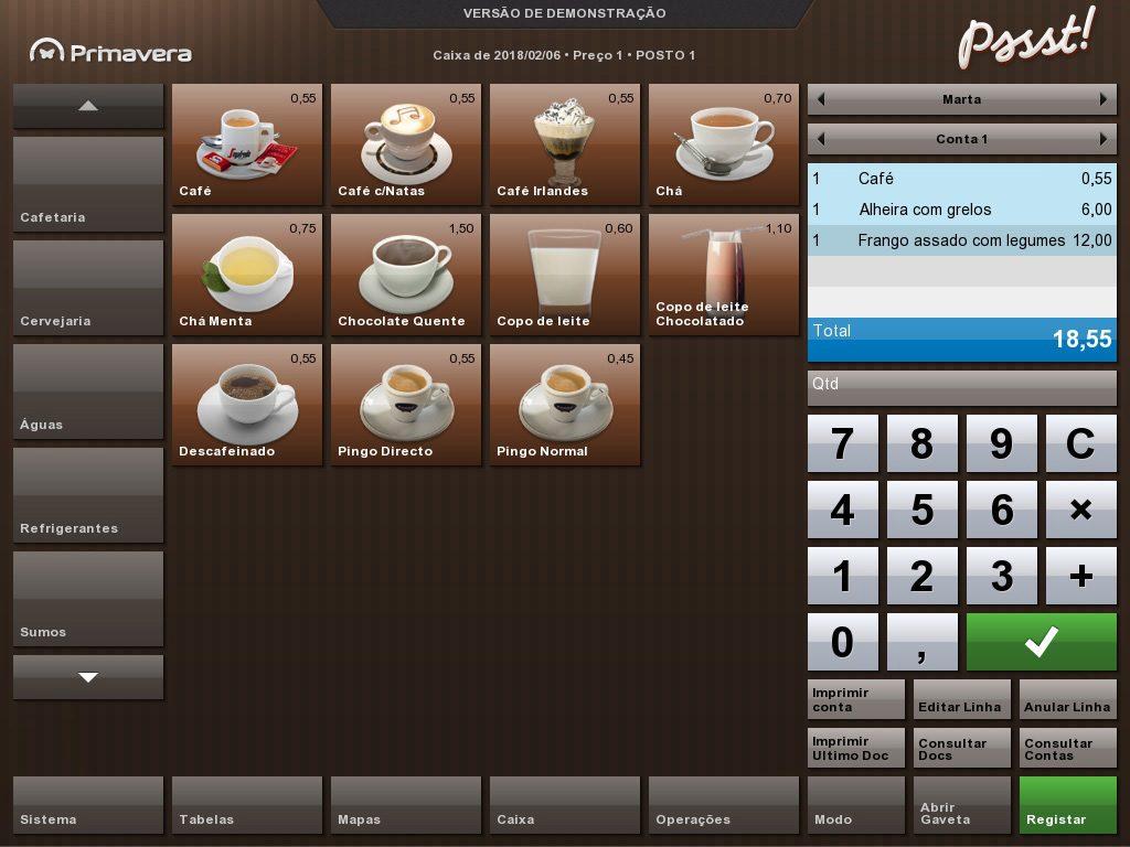 Primavera Pssst! express - Software de gestão e de faturação para a restauração