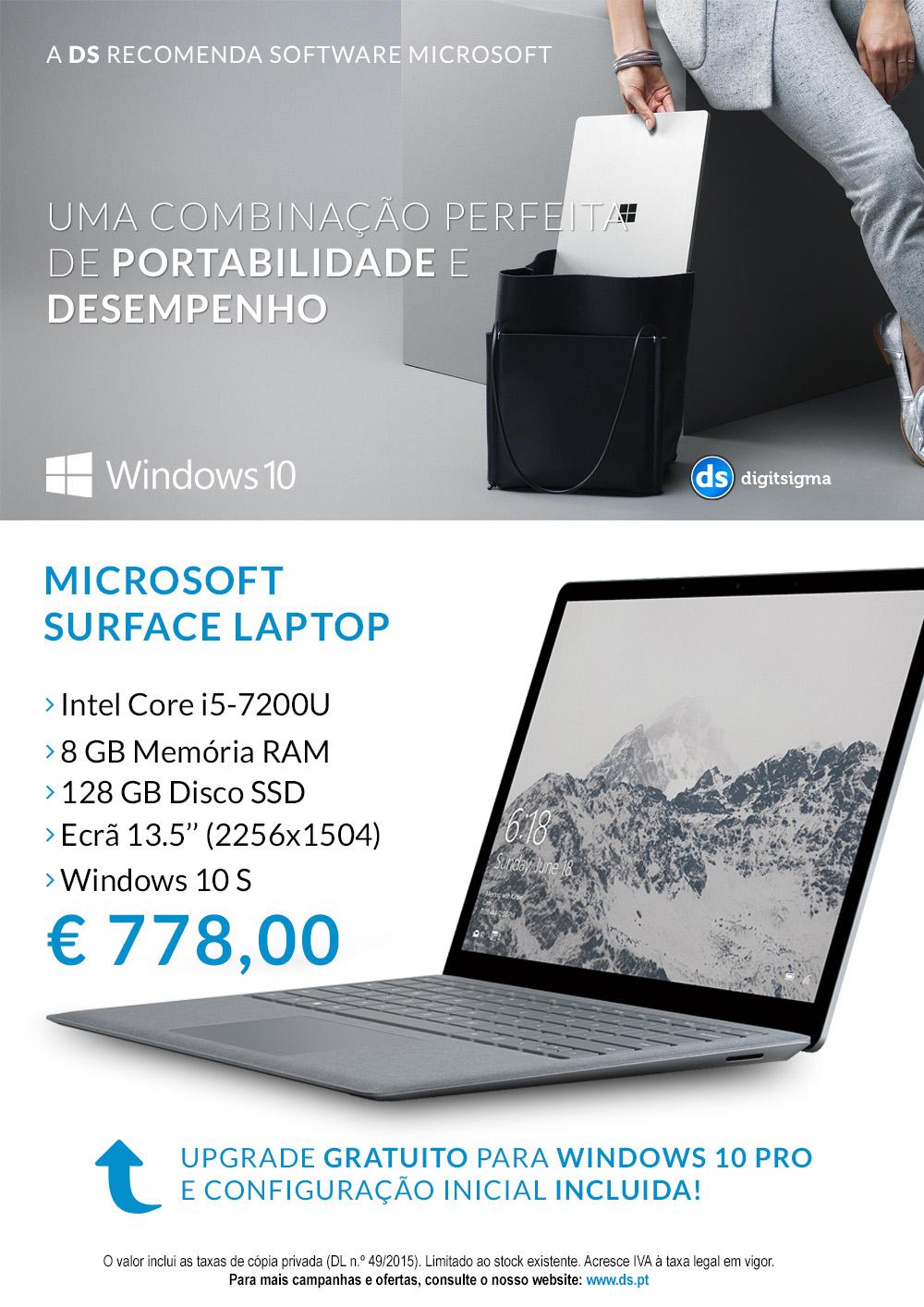 Microsoft Surface Laptop em campanha